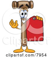 Mallet Mascot Cartoon Character Holding A Red Sales Price Tag