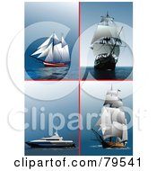 Royalty Free RF Clipart Illustration Of A Digital Collage Of Four Tall Ships Yachts And Cruise Ships