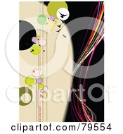 Royalty Free RF Clipart Illustration Of A Funky Black And Beige Background With Circles Birds Stars And Waves
