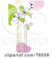 Royalty Free RF Clipart Illustration Of A Funky Background With Tall Pink And Green Flowers Squares And Birds