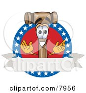 Clipart Picture Of A Mallet Mascot Cartoon Character Logo With Stars And A Blank Label by Toons4Biz