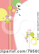 Royalty Free RF Clipart Illustration Of A Funky Pink And White Background With Birds Stars And Circles