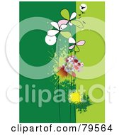 Royalty Free RF Clip Art Illustration Of A Funky Green Background With Autumn Leaves Flowers And Birds