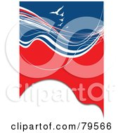 Royalty Free RF Clipart Illustration Of A Vertical Red White And Blue Swoosh And Wave Background With White Gulls