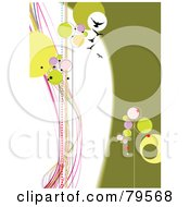 Royalty Free RF Clipart Illustration Of A Funky Green Pink And White Background With Birds