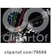Royalty Free RF Clipart Illustration Of A Black Background With Grunge Splatters Stars Circles Lines And Gulls