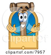 Clipart Picture Of A Mallet Mascot Cartoon Character With A Blank Tan Label by Toons4Biz