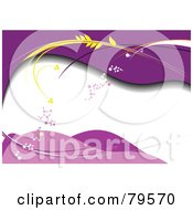 Royalty Free RF Clipart Illustration Of A White Space Bordered With Purple Waves Stars And Wheat