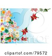 Royalty Free RF Clipart Illustration Of A Blue Background With Bunches Of Colorful Flowers And Branches Of Red Flowers Growing Into The Center
