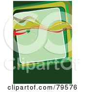 Royalty Free RF Clipart Illustration Of A Green Background With Waves Over A Square Text Box