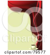 Royalty Free RF Clipart Illustration Of A Beige And Red Coffee Background With Red Steam On The Right Edge by leonid #COLLC79577-0100
