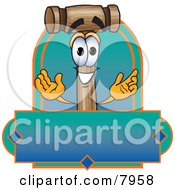 Clipart Picture Of A Mallet Mascot Cartoon Character With A Blank Blue And Green Label by Toons4Biz