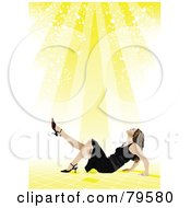Royalty Free RF Clipart Illustration Of A Yellow Starry Light Shining Down On A Woman In Heels And A Black Dress
