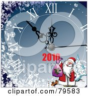 Royalty Free RF Clipart Illustration Of A Blue New Year Clock With Santa by leonid