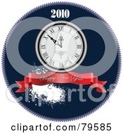 Royalty Free RF Clipart Illustration Of A Blue Happy New Year Greeting With A Red Banner Splatter And Clock In A Blue Circle by leonid