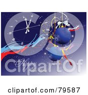 Royalty Free RF Clipart Illustration Of A Blue Happy New Year Greeting With Baubles And A Clock Version 1 by leonid