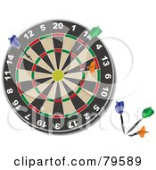 Royalty Free RF Clipart Illustration Of A Dart Board With Colorful Darts In The Lower Corner