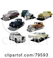 Royalty Free RF Clipart Illustration Of A Digital Collage Of Seven Vintage And Classic Cars by leonid
