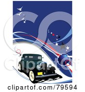 Royalty Free RF Clipart Illustration Of A Vintage Car Background With Waves And Stars On Blue by leonid