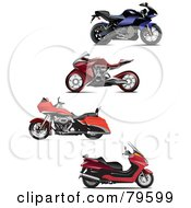 Royalty Free RF Clipart Illustration Of A Digital Collage Of Four Modern Motorcycles
