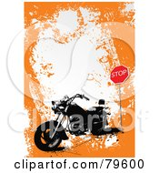 Royalty Free RF Clipart Illustration Of A Grungy Orange Background With A Motorcycle By A Stop Sign With White Space by leonid