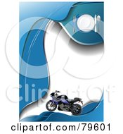 Royalty Free RF Clipart Illustration Of A Blue Motorcycle On A Blue And White Wave Diner Template