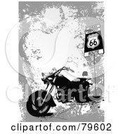Royalty Free RF Clipart Illustration Of A Grungy Gray Route 66 Background With A Motorcycle