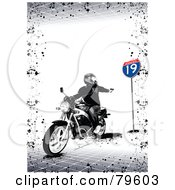Royalty Free RF Clipart Illustration Of A Grungy Gray Background Of A Rider Shooting On A Motorcycle by leonid