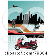 Royalty Free RF Clipart Illustration Of A Red Motorcycle On A Blue Background With Roads Stop Lights An Airplane And Buildings
