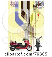 Royalty Free RF Clipart Illustration Of A Red Motorcycle On A Yellow Background With High Tech Roads And Arrows