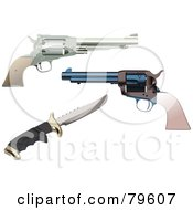 Royalty Free RF Clipart Illustration Of A Digital Collage Of Vintage Hand Pistols And A Knife