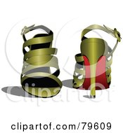 Royalty Free RF Clipart Illustration Of A Pair Of Golden High Heel Shoes by leonid