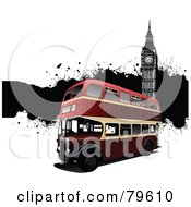Royalty Free RF Clipart Illustration Of A 3d Red Double Decker Bus Background With Black Grunge And Big Ben by leonid