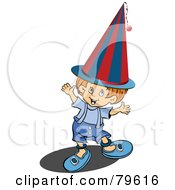 Royalty Free RF Clipart Illustration Of A Little Red Haired Boy Holding Up His Arms And Wearing A Clown Hat by leonid