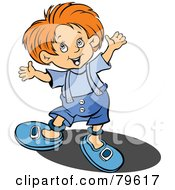 Royalty Free RF Clipart Illustration Of A Little Red Haired Boy Holding Up His Arms And Smiling by leonid