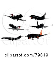 Royalty Free RF Clipart Illustration Of A Digital Collage Of 6 Airplanes by leonid