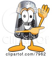 Clipart Picture Of A Pepper Shaker Mascot Cartoon Character Waving And Pointing