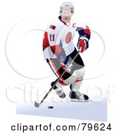 Royalty Free RF Clipart Illustration Of An Ice Hockey Player In Uniform by leonid