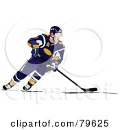 Royalty Free RF Clipart Illustration Of An Ice Hockey Player In A Blue Uniform