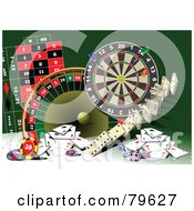 Royalty Free RF Clipart Illustration Of A Green Background With Casino Games And Cards by leonid