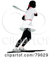 Royalty Free RF Clipart Illustration Of A Faceless Female Tennis Player Version 2