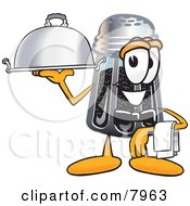 Pepper Shaker Mascot Cartoon Character Dressed As A Waiter And Holding A Serving Platter