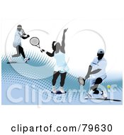 Royalty Free RF Clipart Illustration Of A Sports Background Of A Male And Female Tennis Players On A Blue Halftone Hill Over White by leonid