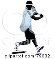 Royalty Free RF Clipart Illustration Of A Faceless Male Tennis Player Version 3