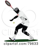 Royalty Free RF Clipart Illustration Of A Faceless Male Tennis Player Version 1