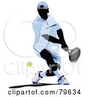 Royalty Free RF Clipart Illustration Of A Faceless Male Tennis Player Version 2