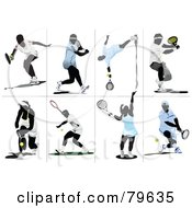 Royalty Free RF Clipart Illustration Of A Digital Collage Of Eight Male And Female Faceless Tennis Players