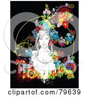 Royalty Free RF Clipart Illustration Of A Woman Surrounded By Colorful Flowers On Black