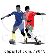 Royalty Free RF Clipart Illustration Of Two Faceless Male Soccer Players Version 2 by leonid