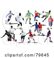 Royalty Free RF Clipart Illustration Of A Digital Collage Of Faceless Male Soccer Players Version 1 by leonid